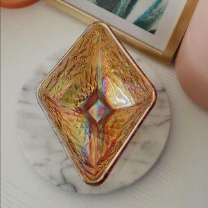 Vintage Diamond Shape Carnival Glass Pedestal Dish